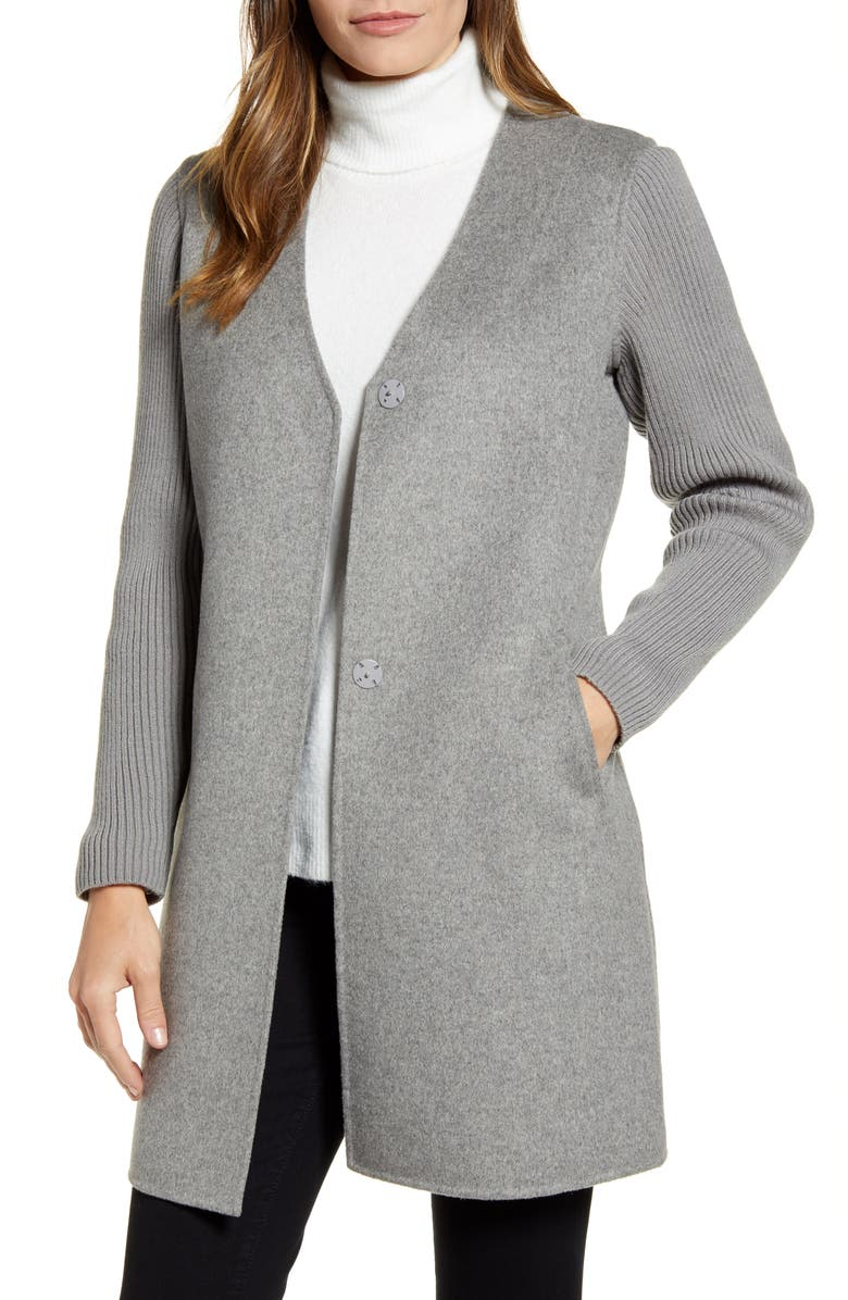 KENNETH COLE NEW YORK Knit Sleeve Double Face Wool Blend Coat, Main, color, LT GREY
