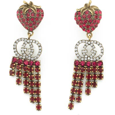 Gucci Strawberry Crystal Drop Earrings