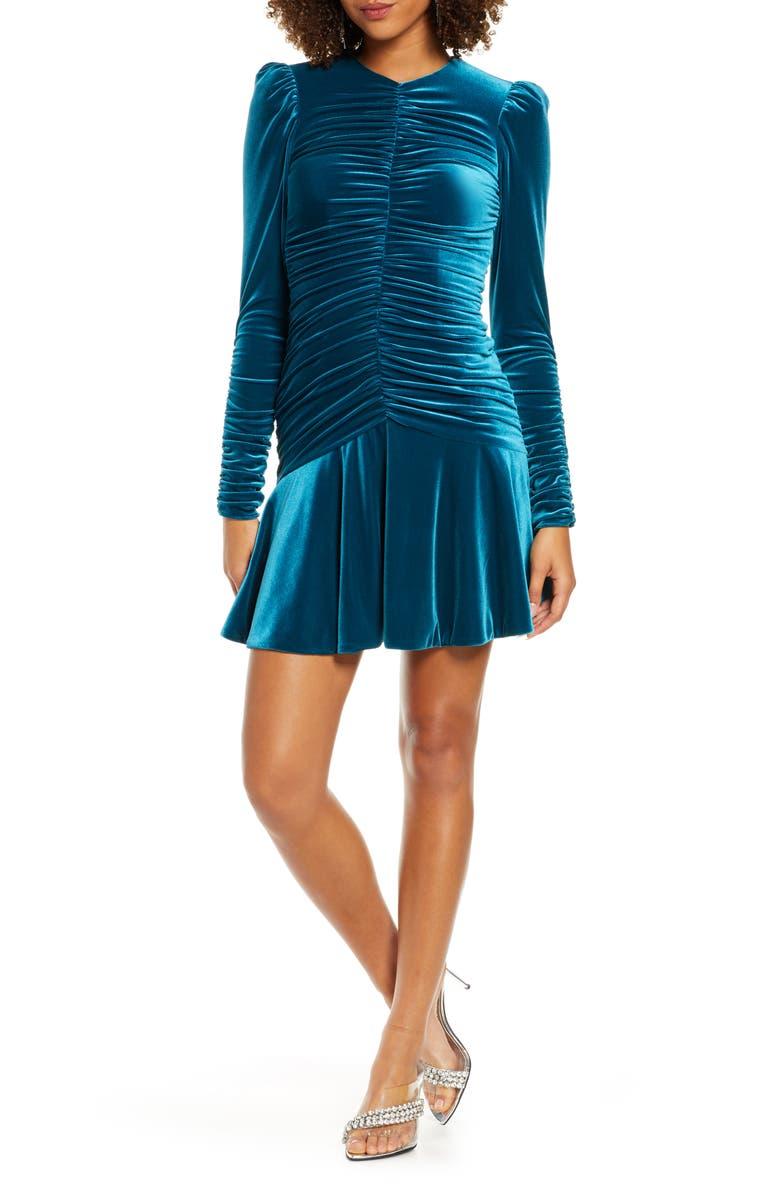ML MONIQUE LHUILLIER Long Sleeve Ruched Cocktail Dress, Main, color, OCEAN
