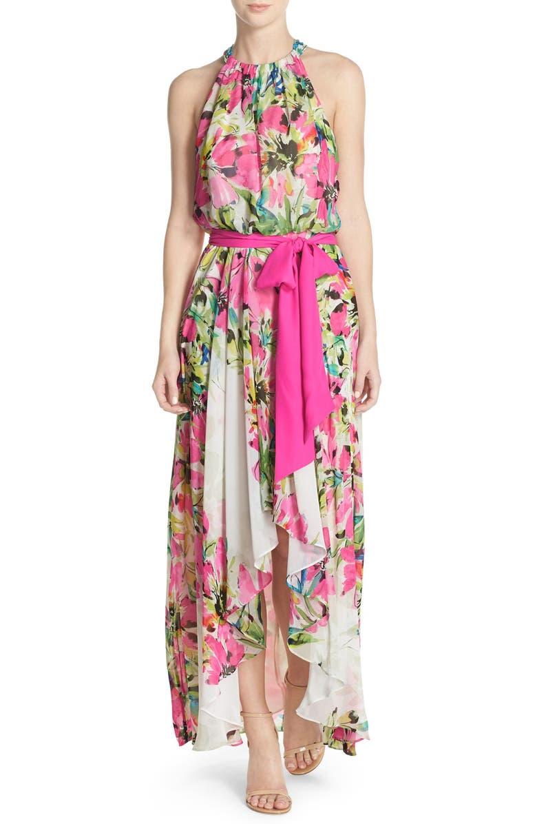ELIZA J Floral Print Chiffon High/Low Dress, Main, color, 812
