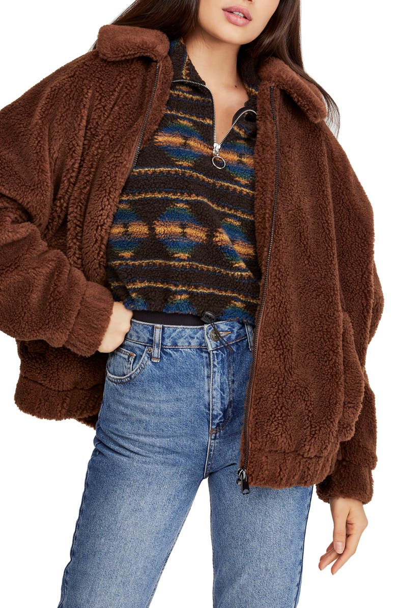 BDG URBAN OUTFITTERS Batwing Faux Shearling Jacket, Main, color, 200