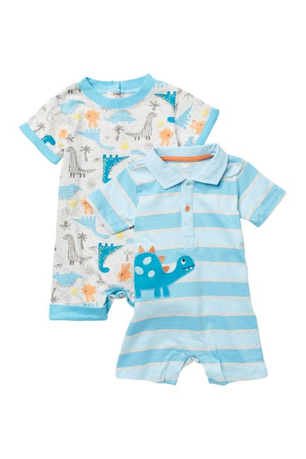 Image of koala baby Dinosaur Print Short Rompers - Set of 2