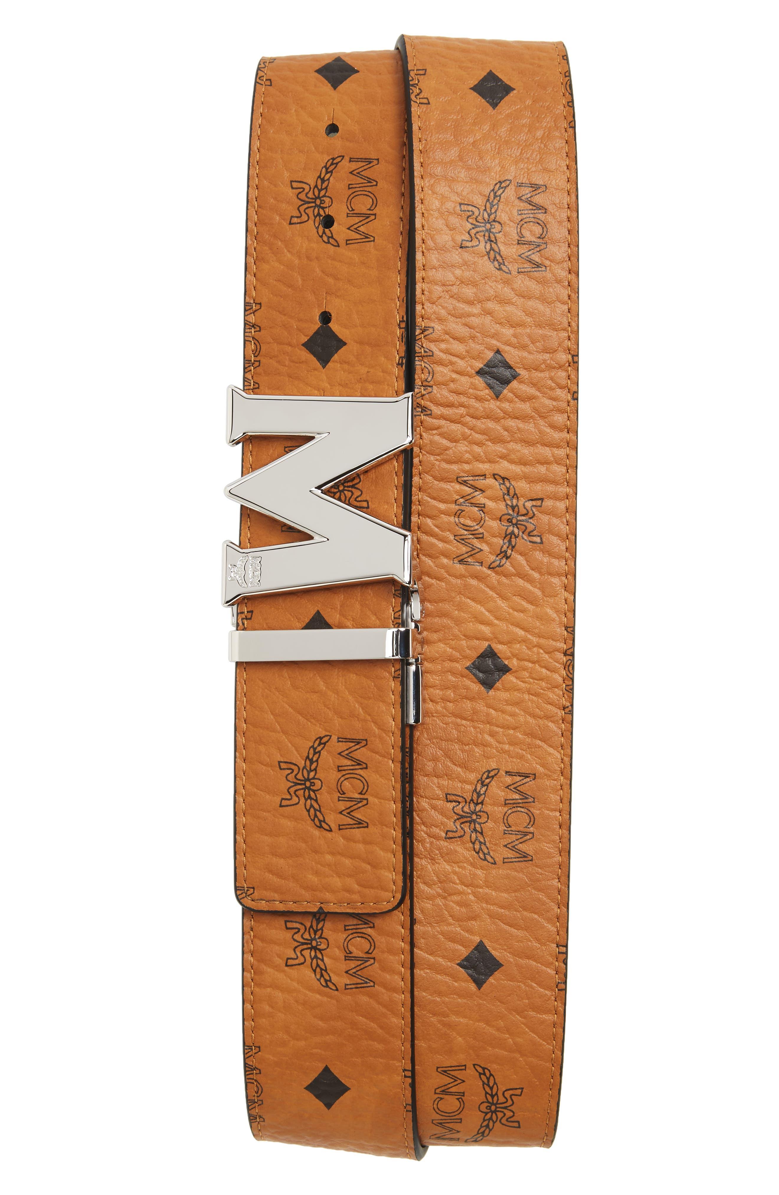 ,                             Reversible Signature Leather Belt,                             Main thumbnail 3, color,                             210