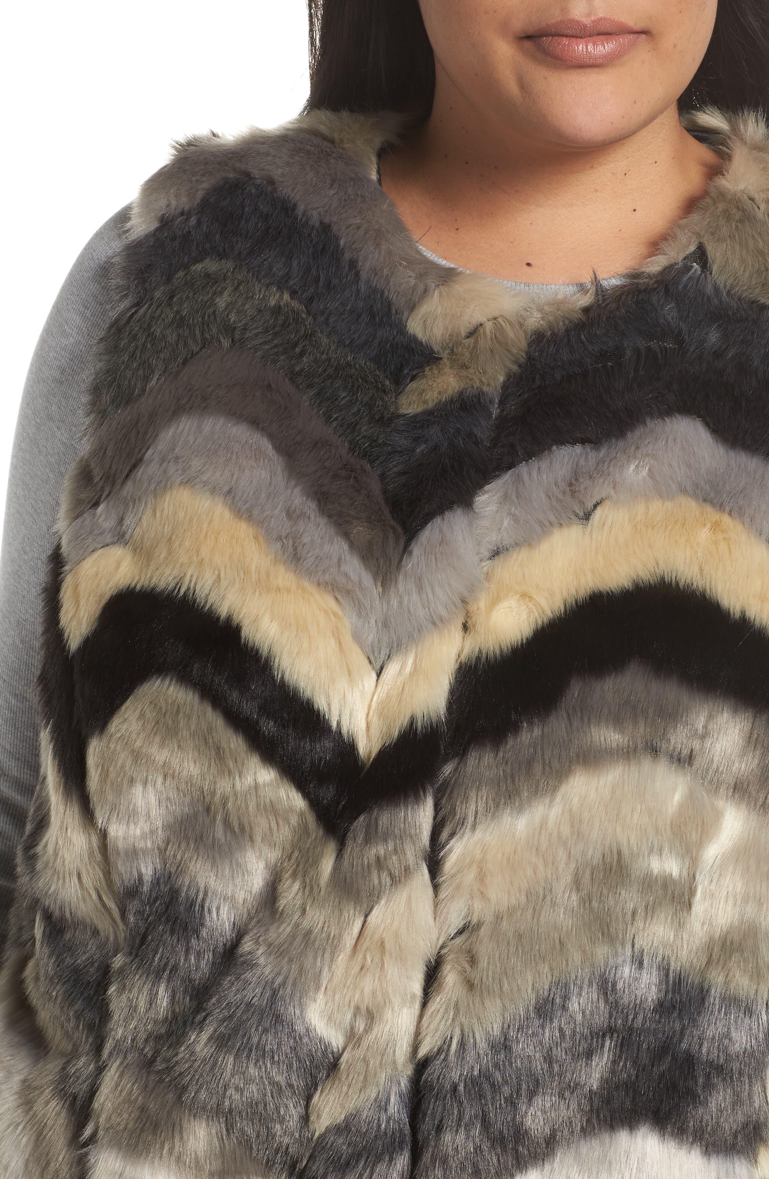 ,                             Chevron Faux Fur Vest,                             Alternate thumbnail 5, color,                             001