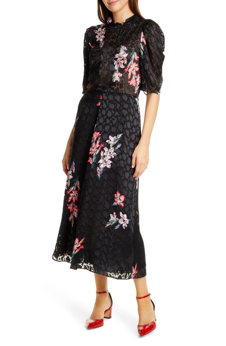 REBECCA TAYLOR Noha Floral Maxi Dress, Main, color, 001