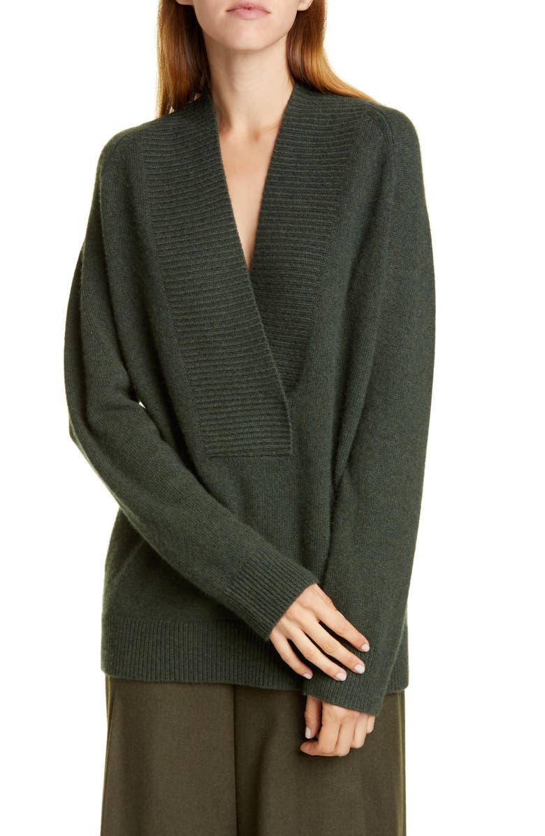 VINCE Ribbed Detail Wrap Front Wool & Cashmere Tunic Sweater, Main, color, HEATHER MOSS
