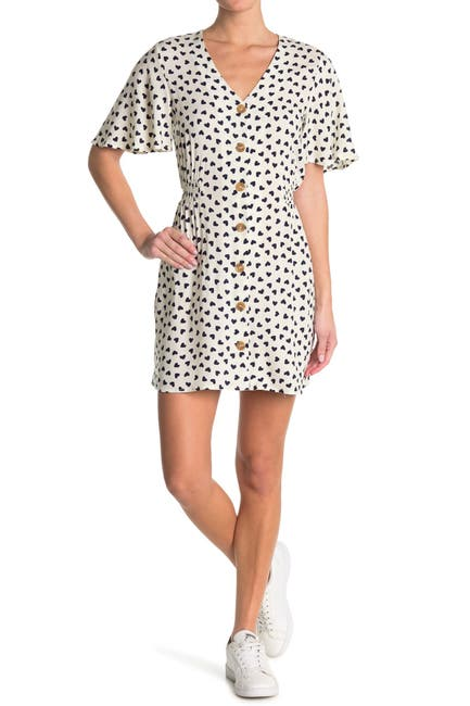 Image of Abound Flutter Sleeve Button Front Dress