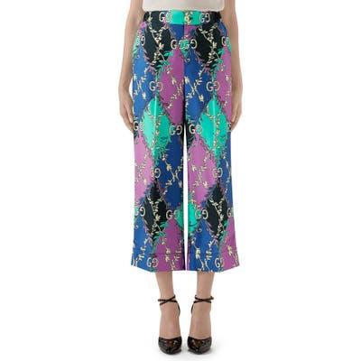 Gucci Rhombus Print Silk Pajama Trousers, US / 42 IT - Blue/green