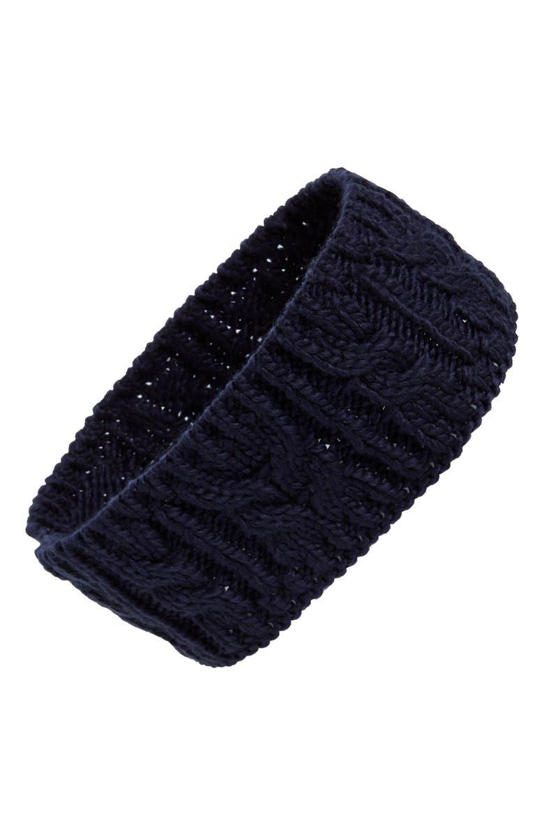 BP. Cable Knit Headband, Main, color, NAVY PEACOAT