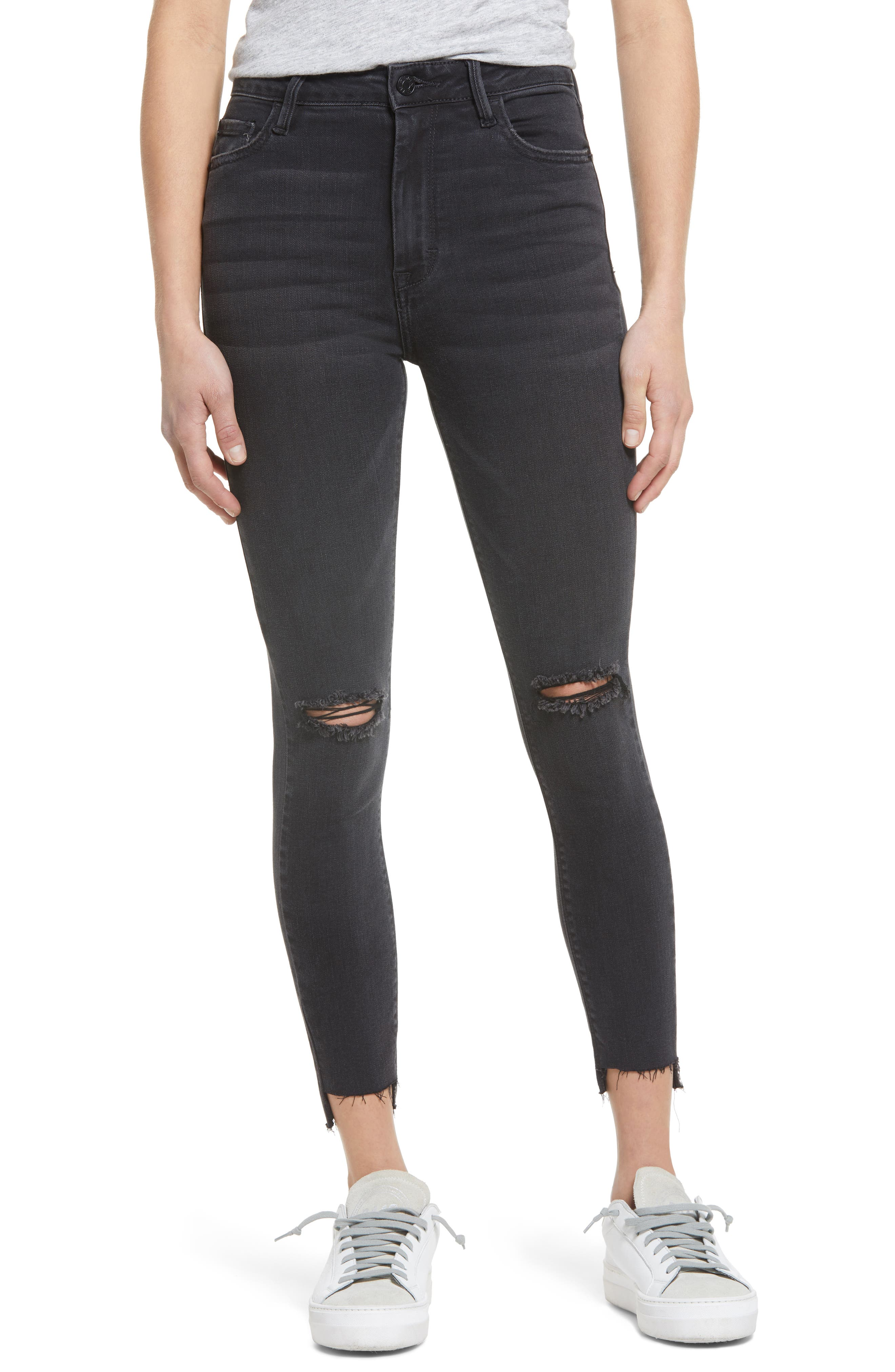 Ripped High Waist Ankle Skinny Jeans