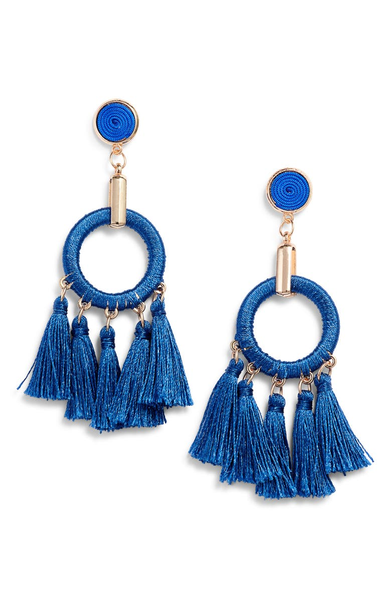 KNOTTY Multi Tassel Drop Earrings, Main, color, BLUE