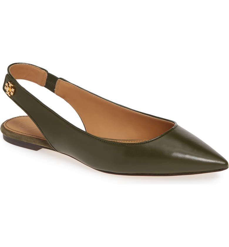 TORY BURCH Kira Slingback Pointy Toe Flat, Main, color, LECCIO / LECCIO