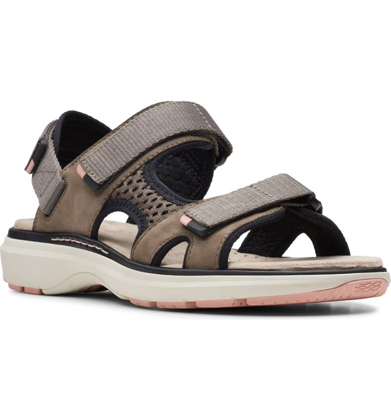 CLARKS<SUP>®</SUP> Unstructured Roam Step Sandal, Main, color, TAUPE NUBUCK
