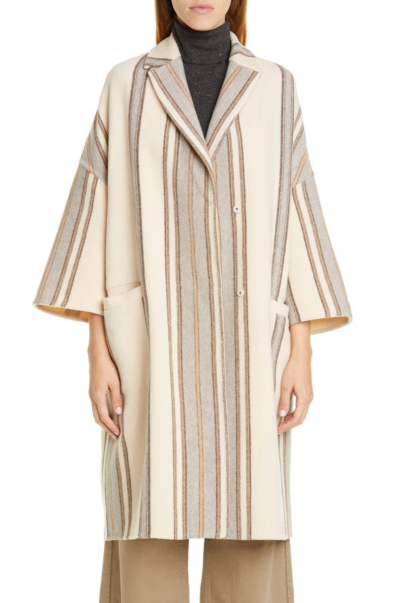 BRUNELLO CUCINELLI Blanket Stripe Wool & Cashmere Coat, Main, color, IVORY GREY