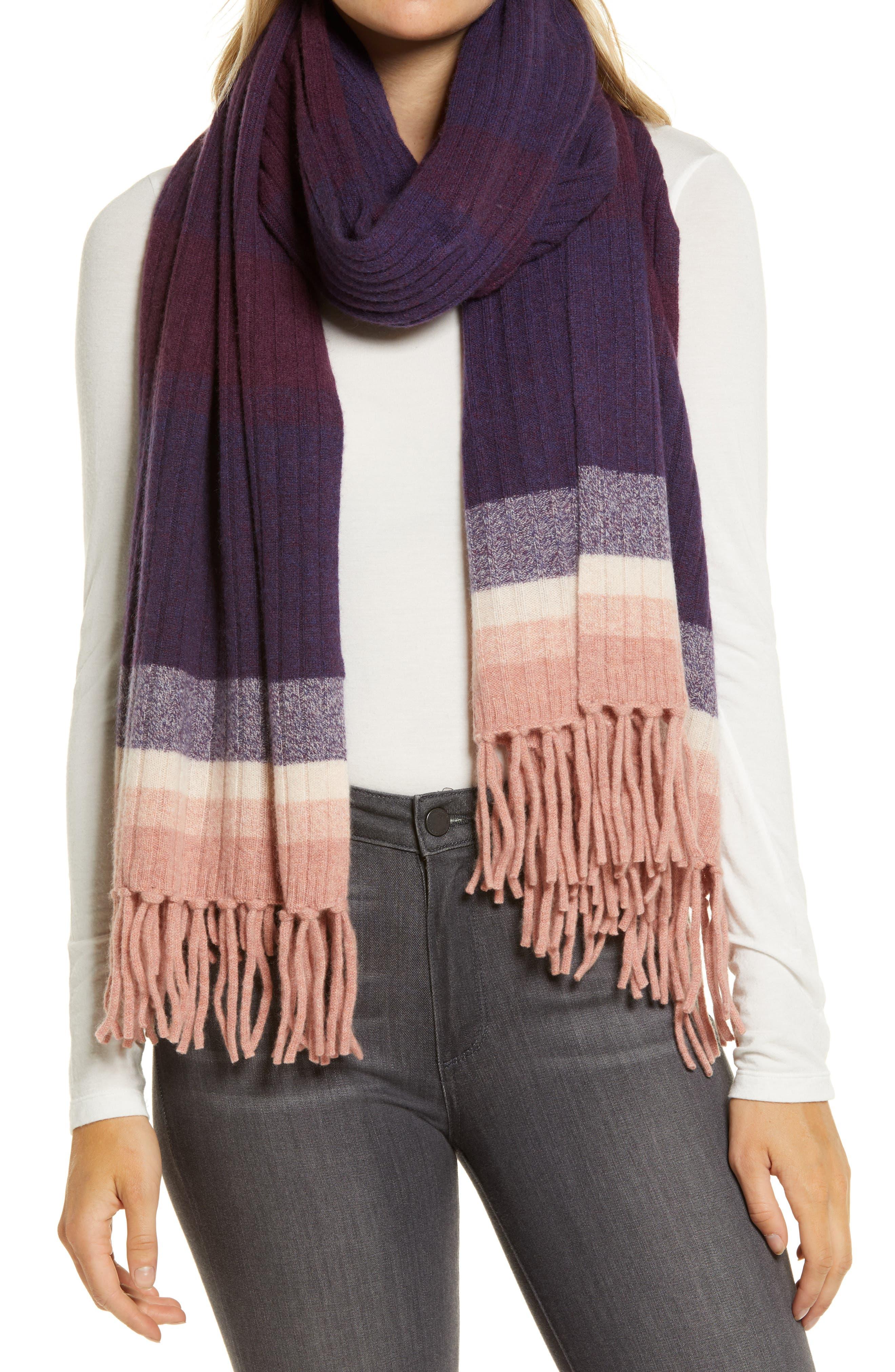Women's Halogen Stripe Cashmere Scarf