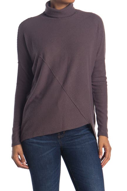 Image of H By Bordeaux Mock Neck Ribbed Knit Pullover