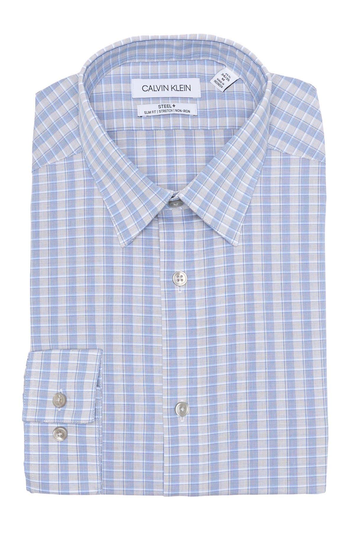 Image of Calvin Klein Plaid Print Slim Fit Dress Shirt