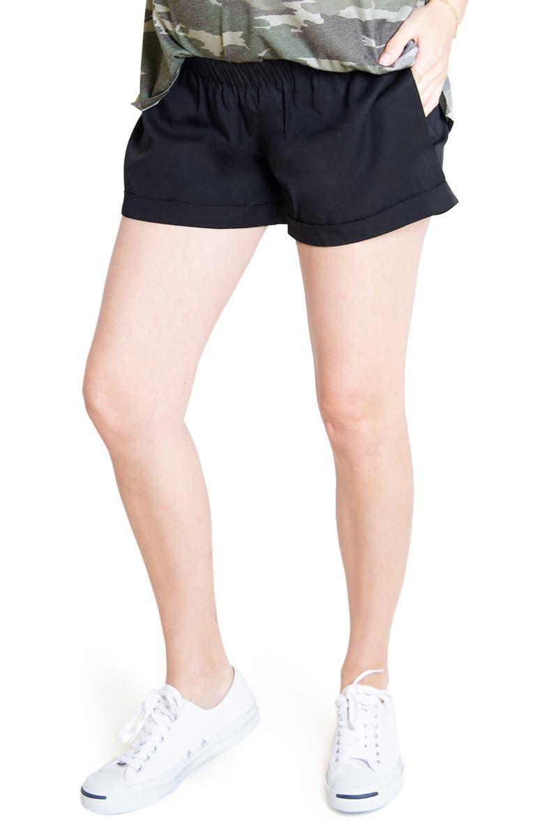 INGRID & ISABEL<SUP>®</SUP> Elastic Waist Maternity Shorts, Main, color, 001