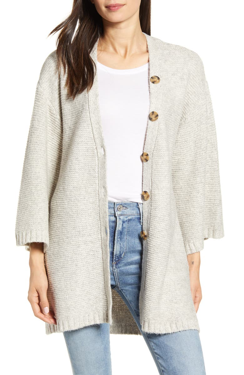 CUPCAKES AND CASHMERE Reverie Relaxed Cardigan, Main, color, LATTE