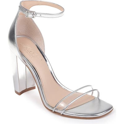 Jewel Badgley Mischka Keshia Ii Clear Ankle Strap Sandal, Metallic