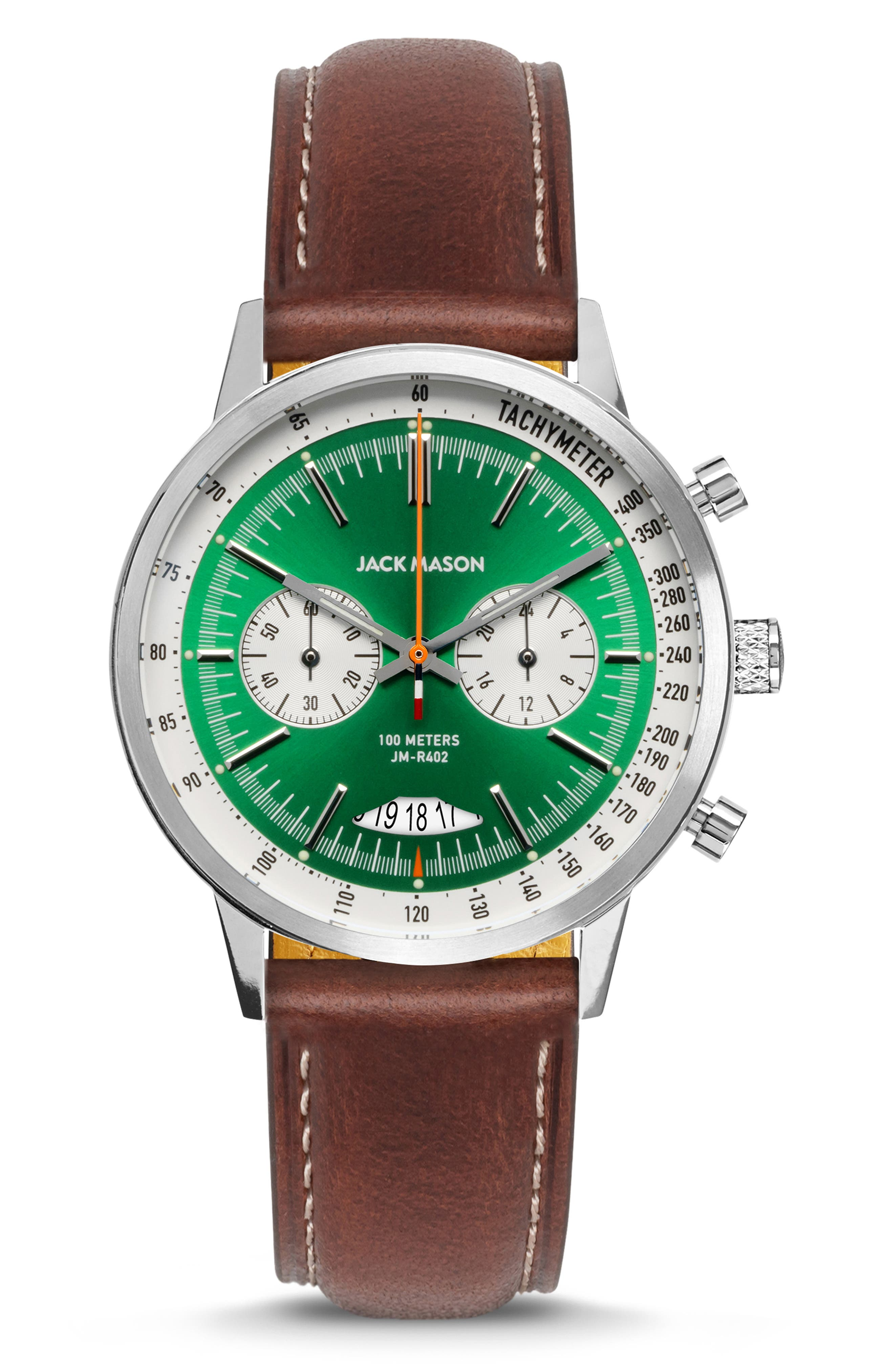 Racing Chronograph Leather Strap Watch, 40mm, Main, color, GREEN/ BROWN