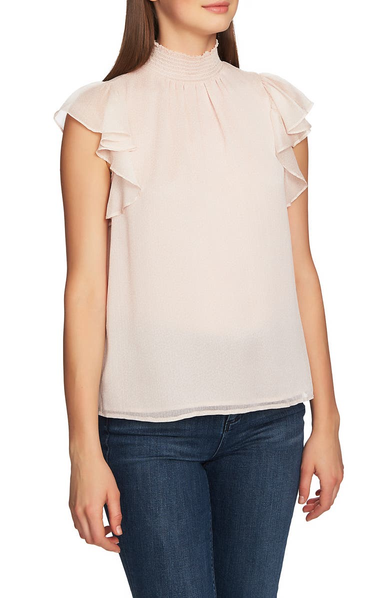 1.STATE Mock Neck Flutter Sleeve Top, Main, color, DELICATE BLUSH