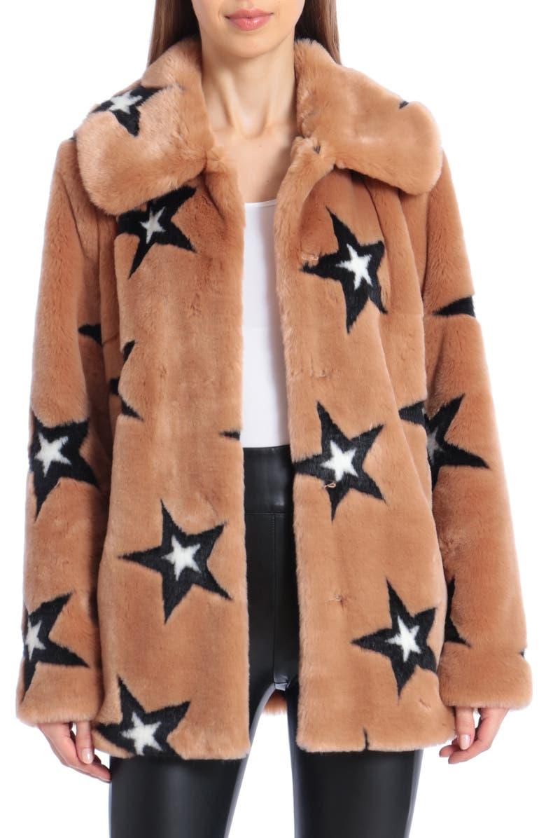 AVEC LES FILLES Star Print Faux Fur Swing Coat, Main, color, CAMEL/ BLACK STAR