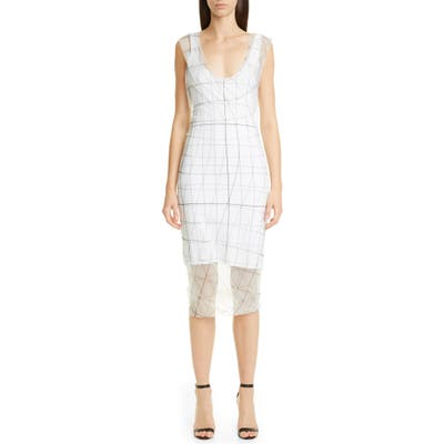 Y/project Grid Print Tulle Overlay Tank Dress, White