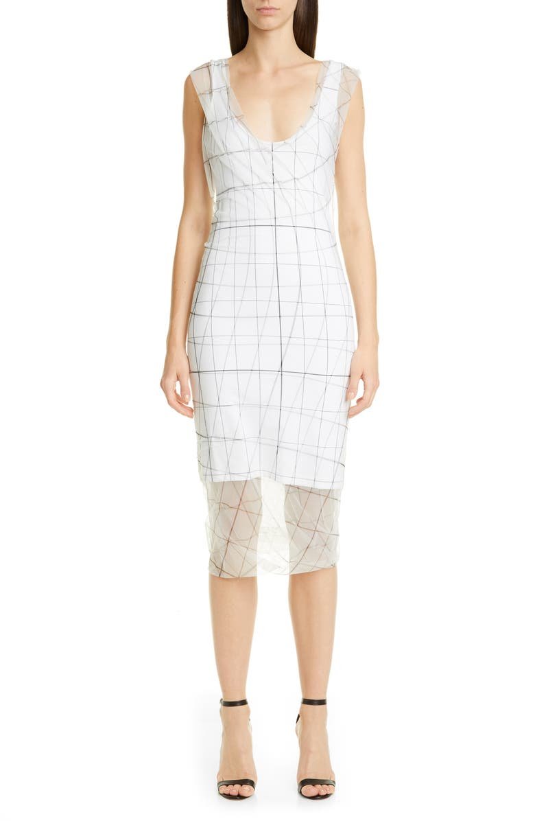 Y/PROJECT Grid Print Tulle Overlay Tank Dress, Main, color, WHITE