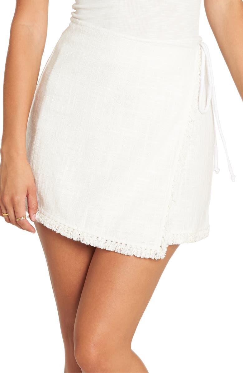 BILLABONG Cha Cha Fringe Trim Miniskirt, Main, color, CLOUD