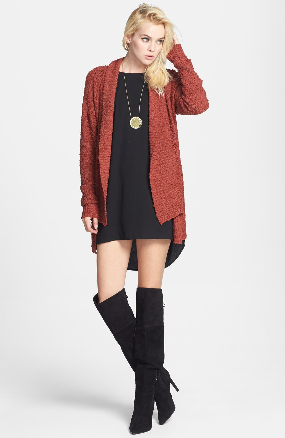 ,                             Textured Open Front Cardigan,                             Main thumbnail 11, color,                             210