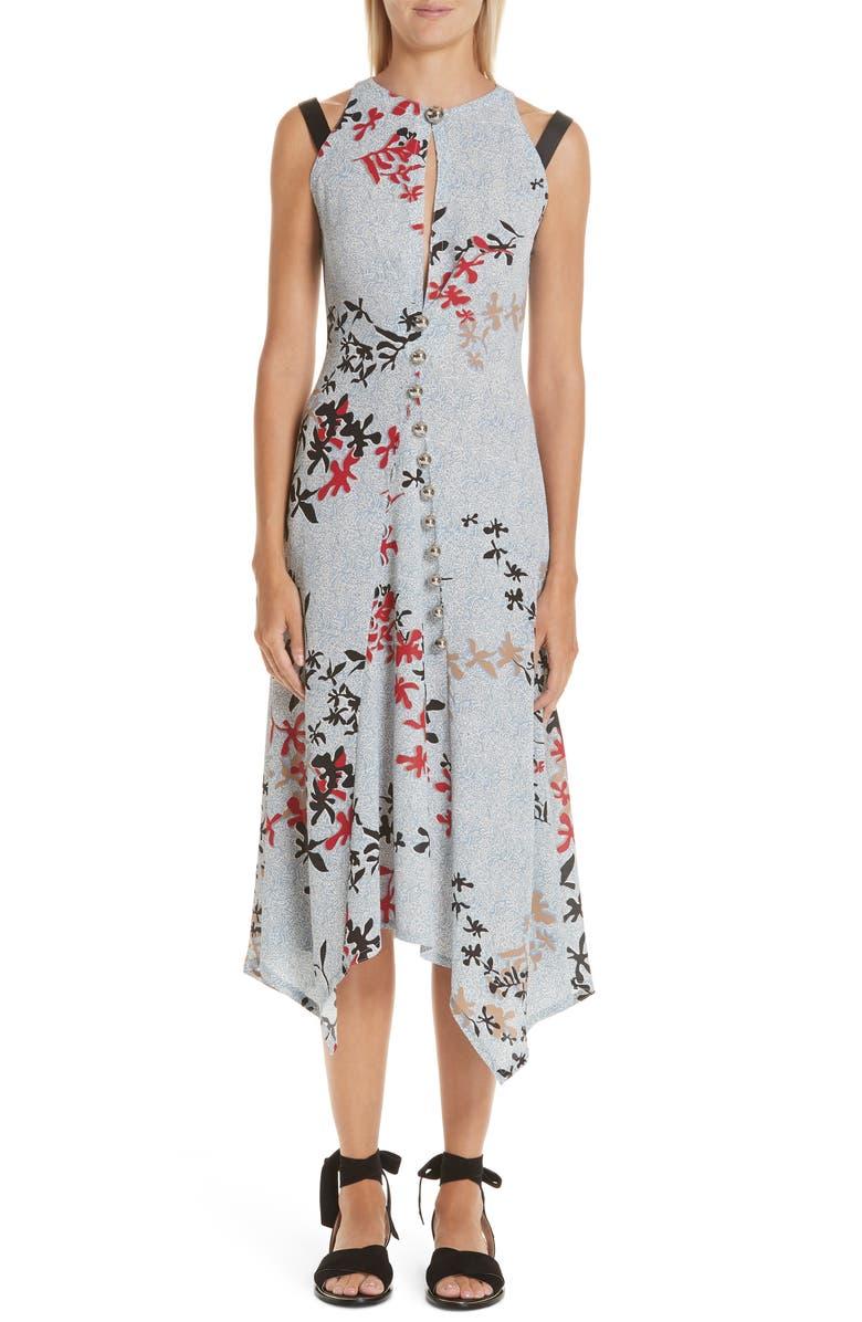 YIGAL AZROUËL Découpe Floral Print Crepe Dress, Main, color, 400