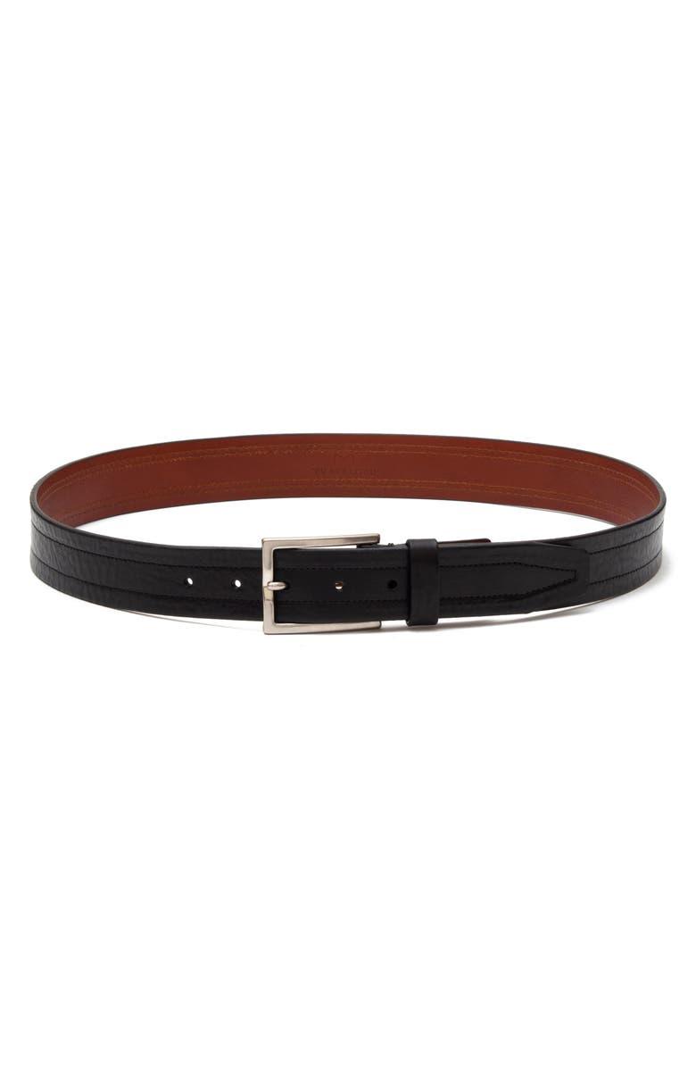 TRAFALGAR Leather Belt, Main, color, BLACK