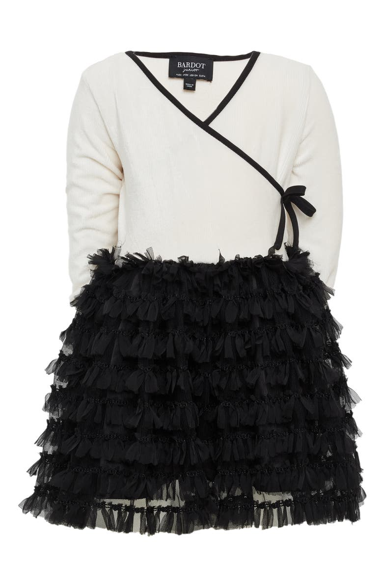 BARDOT JUNIOR Faux Wrap Tutu Dress, Main, color, 900
