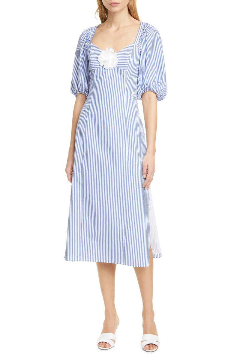 STAUD O'Keefe Cotton Midi Dress, Main, color, BLUE/ WHITE STRIPE