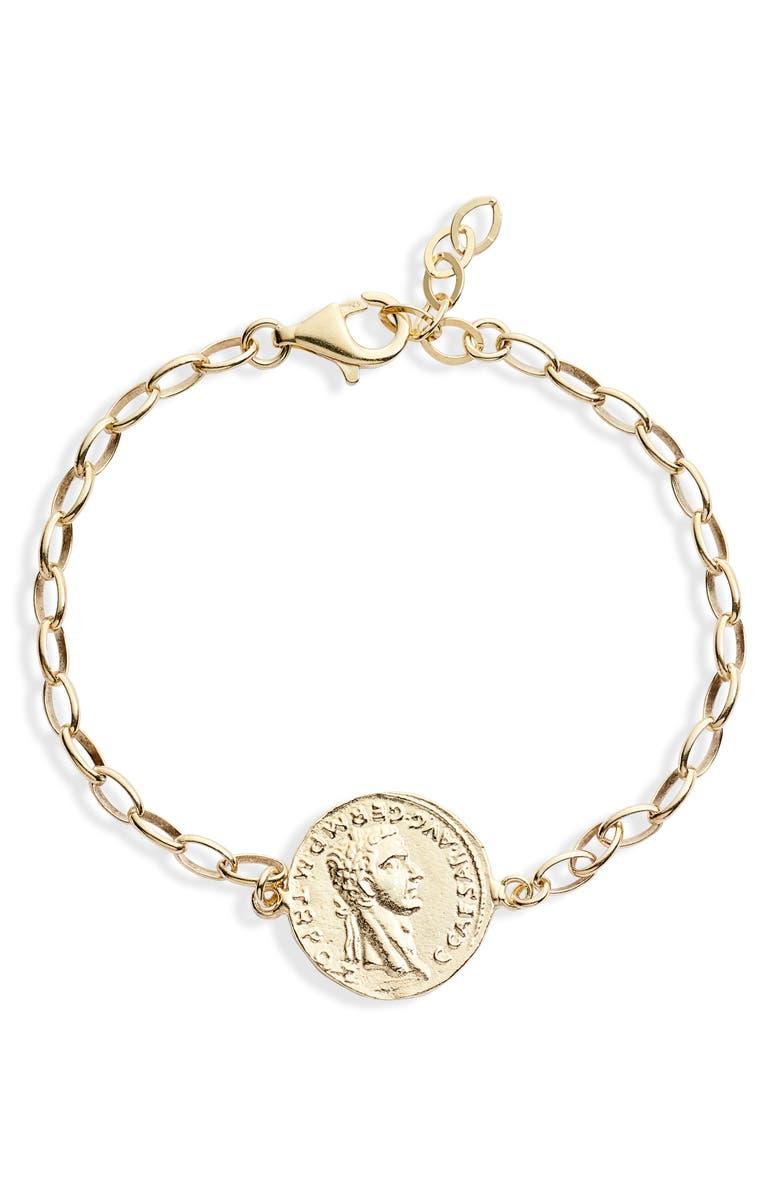 ADINA'S JEWELS Vintage-Inspired Coin Bracelet, Main, color, GOLD