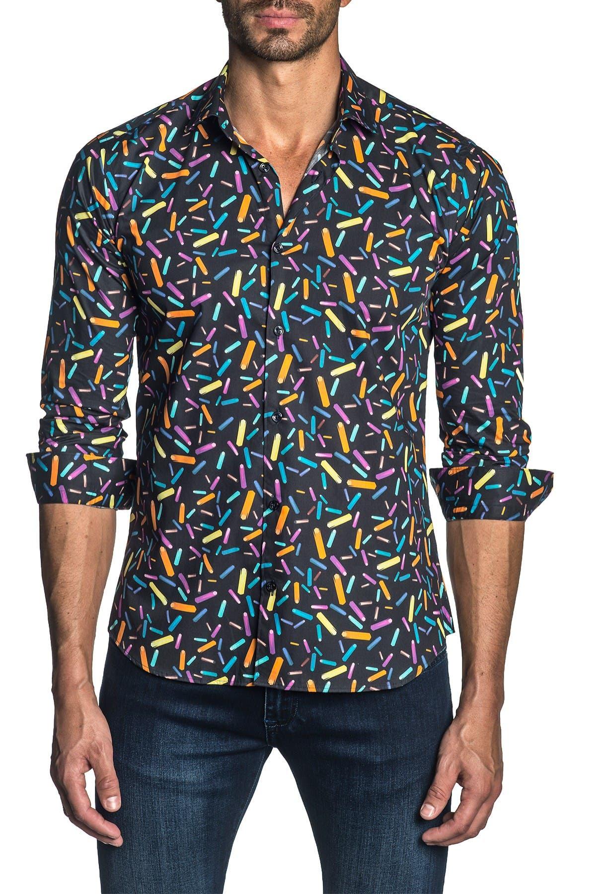 Image of Jared Lang Pattern Woven Trim Fit Shirt