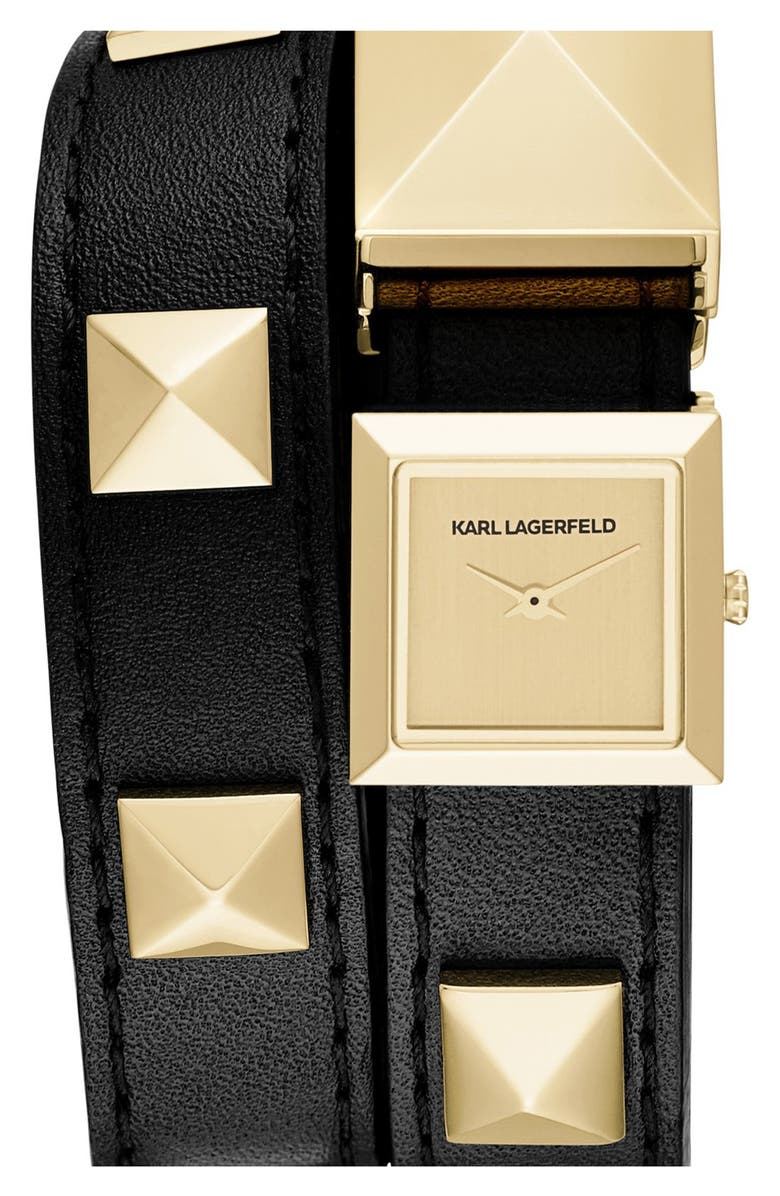KARL LAGERFELD PARIS KARL LAGERFELD 'Demi' Stud Double Strap Watch, 19mm, Main, color, 001