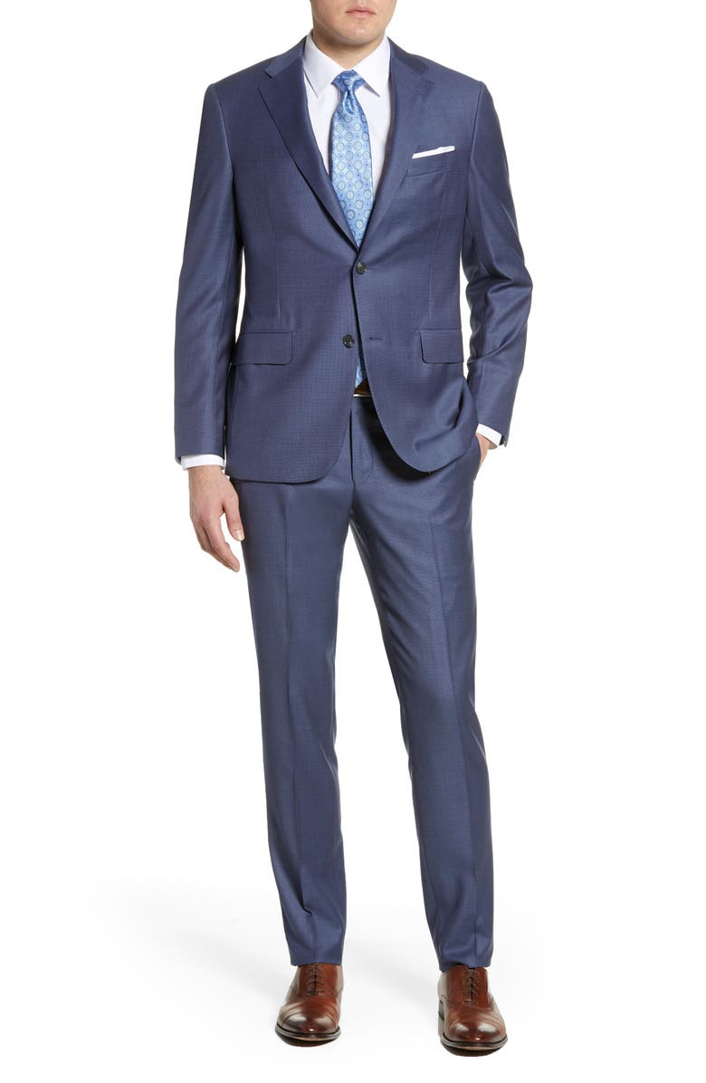 HICKEY FREEMAN Classic Fit Solid Wool Suit, Main, color, MEDIUM BLUE