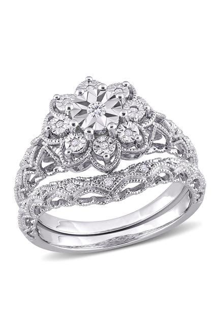 Image of Delmar Sterling Silver Diamond Flower Filigree Ring - 0.1 ctw