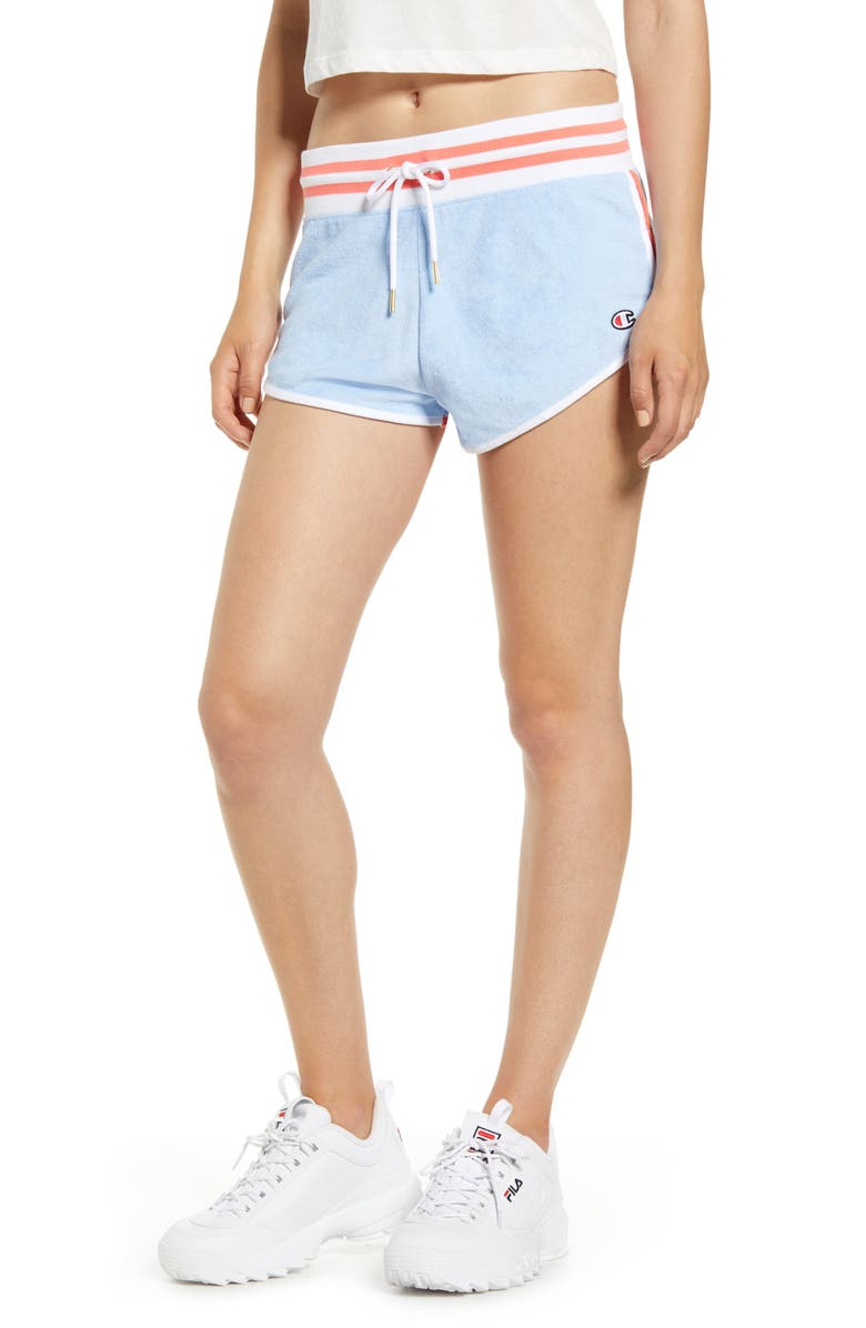 CHAMPION Dolphin Hem Terry Shorts, Main, color, OCEAN FRONT BLUE