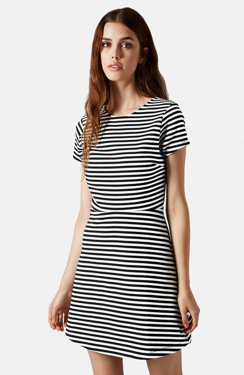 TOPSHOP Sailor Stripe Bonded Skater Dress, Main, color, 002