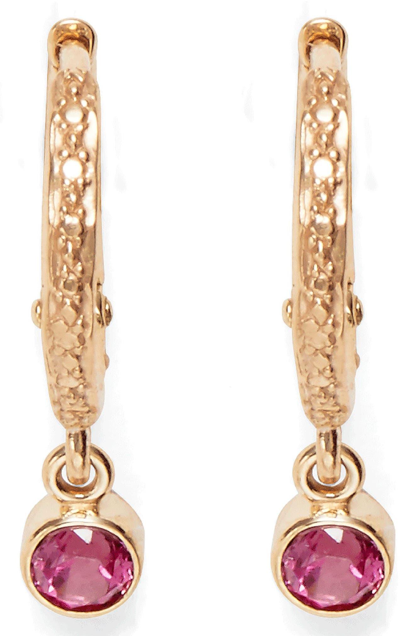 Pink Tourmaline Micro Hoop Earrings