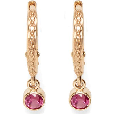 Marlo Laz Pink Tourmaline Micro Hoop Earrings