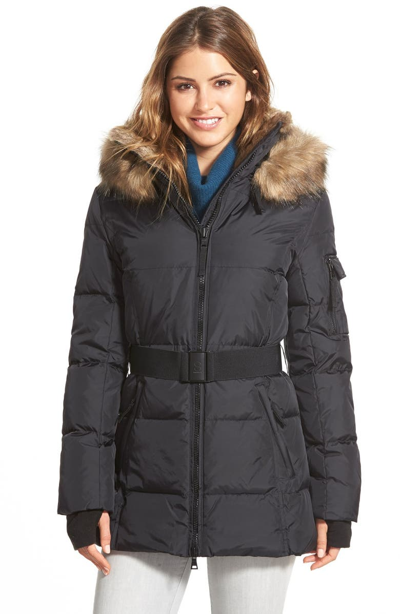 3dc664a10 S13/NYC 'Alps' Faux Fur Trim Belted Down & Feather Fill Parka ...