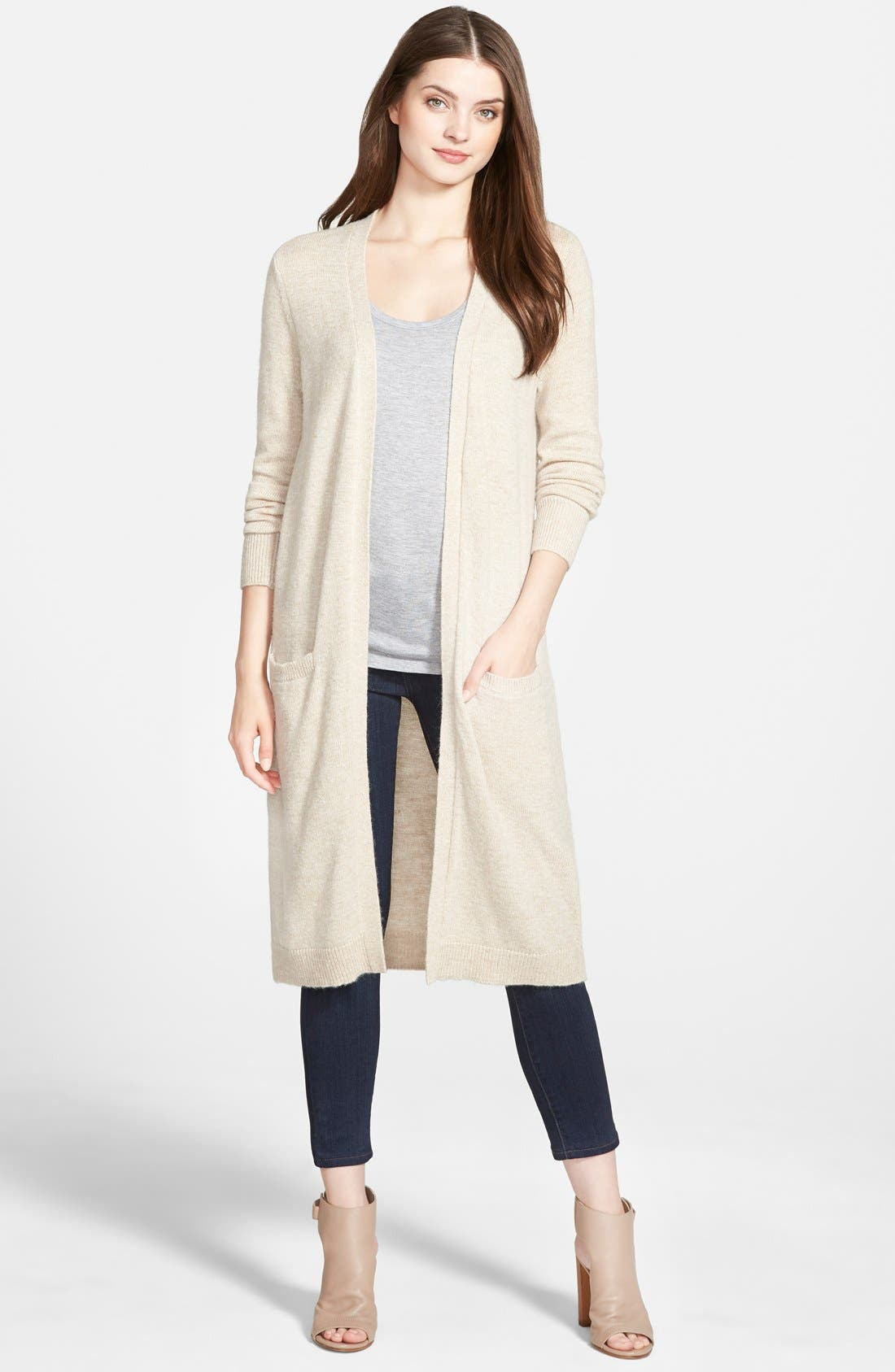 ,                             Long Open Front Cardigan,                             Main thumbnail 4, color,                             250