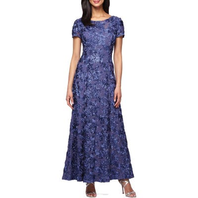 Alex Evenings Embellished Lace A-Line Gown, Blue
