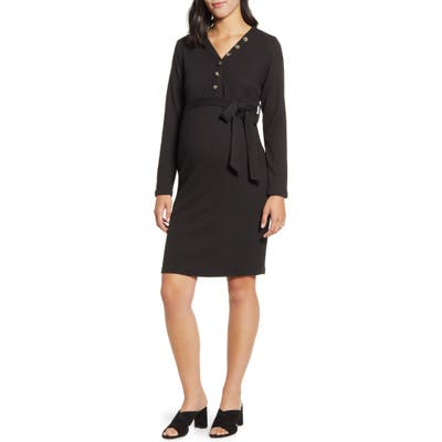 Angel Maternity Long Sleeve Maternity Sweater Dress, Black