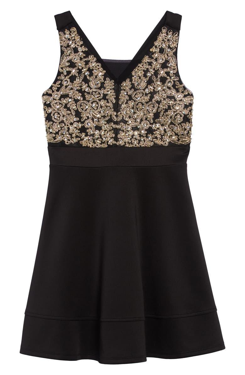 LOVE, NICKIE LEW Embellished Bodice Skater Dress, Main, color, 030-BLK/GOLD
