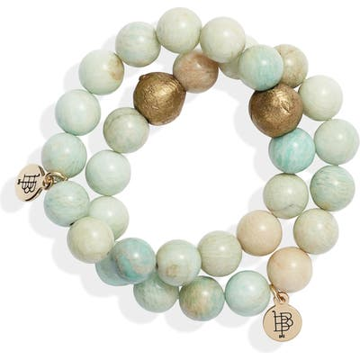 Bourbon And Boweties Set Of 2 Agate Beaded Stretch Bracelets